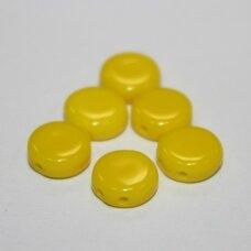 STK0930 apie 8 x 3 mm, disko forma, geltona spalva, stikliniai karoliukai, apie 55 vnt.