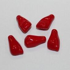 stk0948 apie 4 x 15 x 8 mm, raudona spalva, stiklinis karoliukas, 25 vnt.