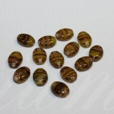 stk1151 apie 8 x 6 x 4 mm, ovalo forma, marga, žalsva spalva, stiklinis karoliukas, apie 68 vnt.