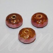 stk0979 apie 10 x 16 mm, rondelės forma, briaunuotas, marga, stiklinis karoliukas, 3 vnt.