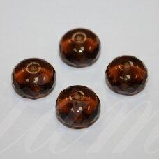 stk0997 apie 9 x 13 mm, rondelės forma, briaunuotas, skaidrus, ruda spalva, stiklinis karoliukas, 8 vnt.