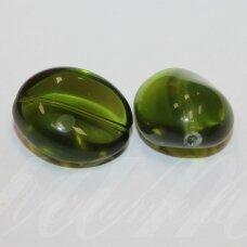 stk1019 apie 26 x 21 x 15 mm, netaisyklinga forma, skaidrus, samaninė spalva, stiklinis karoliukas, 2 vnt.