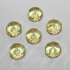 stk1020 apie 7 x 10 mm, rondelės forma, skaidrus, geltona spalva, stiklinis karoliukas, 17 vnt.