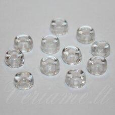 stk1031 apie 4 x 6 mm, žiedelio forma, skaidrus, stiklinis karoliukas, apie 100 vnt.