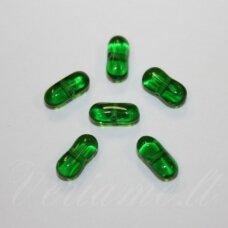 STK1052 apie 4 x 9 mm, pailga forma, skaidrus, žalia spalva, apie 86 vnt.