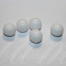 STK1180 apie 8 mm, apvali forma, balta spalva, stiklinis karoliukas, 30 vnt.