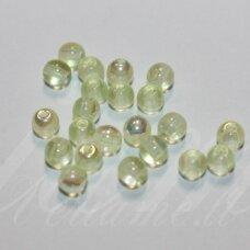 stk1177 apie 4 mm, apvali forma, gelsva spalva, ab danga, stiklinis karoliukas, apie 230 vnt.