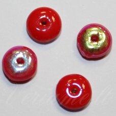 STK1106 apie 3 x 6 mm, disko forma, raudonas, AB danga, stikliniai karoliukai, apie 88 vnt.