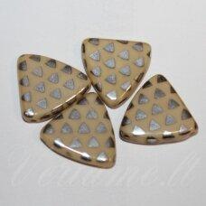 stk1126 apie 17 x 4 mm, trikampio forma, marga, geltona spalva, stiklinis karoliukas, 12 vnt.