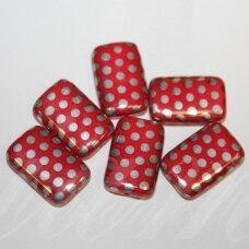stk1127 apie 19 x 12 x 5 mm, stačiakampio forma, marga, raudona spalva, stiklinis karoliukas, 10 vnt.