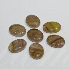 stk1148 apie 12 x 10 x 4 mm, ovalo forma, marga, žalsva spalva, stiklinis karoliukas, apie 28 vnt.