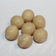 stk2237 apie 11 x 12 mm, netaisyklinga forma, kreminė spalva, stiklinis karoliukas, 10 vnt.