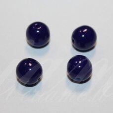 STK1188 apie 8 mm, apvali forma, mėlyna spalva, stiklinis karoliukas, 30 vnt.