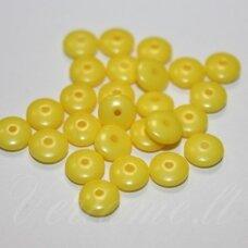 STK1183 apie 2.5 x 6 mm, disko forma, geltona spalva, stiklinis karoliukas, apie 133 vnt.