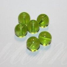 stk1189 apie 10 mm, apvali forma, skaidrus, žalia spalva, stiklinis karoliukas, 18 vnt.