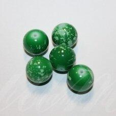 STK1199 apie 14 mm, apvali forma, žalia spalva, stiklinis karoliukas, 6 vnt.