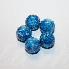 STK1198 apie 14 mm, apvali forma, mėlyna spalva, stiklinis karoliukas, 6 vnt.