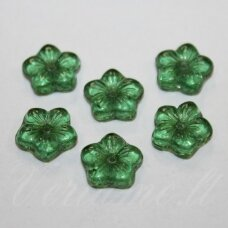 stk2003 about 4 x 12 mm, flower shape, green color, 12 pcs.