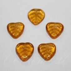 stk2020 apie 9 x 9 x 3 mm, lapelio forma, skaidrus, gintaro spalva, 58 vnt.