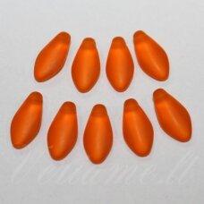 STK2031 apie 7 x 14 mm, žiedlapio forma, matinė, oranžinė spalva, stiklinis karoliukas, 20 vnt.