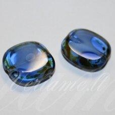 stk2048 apie 17 x 6 mm, skaidrus, mėlyna spalva, marga, stiklinis karoliukas, 2 vnt.