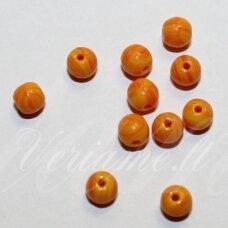 stk2059 apie 4 mm, apvali forma, oranžinė spalva, stiklinis karoliukas, apie 216 vnt.