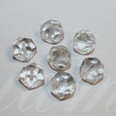 stk0871 apie 10 x 12 mm, rondelės forma, skaidrus, stiklinis karoliukas, 10 vnt.