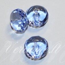 stk2060 apie 9 x 14 mm, rondelės forma, skaidrus, žydra spalva, stiklinis karoliukas, 6 vnt.