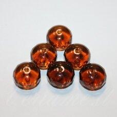 STK2068 apie 11 x 16 mm, rondelės forma, skaidrus, ruda spalva, stikliniai karoliukai, 6 vnt.
