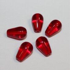 stk2049 apie 11 x 7 x 4 mm, lašo forma, skaidrus, raudona spalva, stiklinis karoliukas, apie 26 vnt.