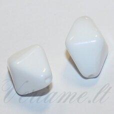 stk2088 apie 18 x 11 mm, balta spalva, stiklinis karoliukas, 7 vnt.