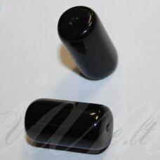 STK2092 apie 24 x 13 mm, pailga forma, juoda spalva, stikliniai karoliukai, 3 vnt.