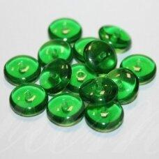 STK1181 apie 3.5 x 10 mm, disko forma, skaidrus, žalia spalva, stiklinis karoliukas, apie 40 vnt.