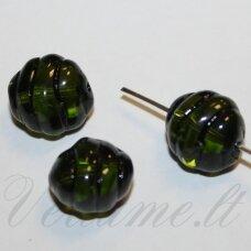 STK2105 apie 12 x 9 mm, skaidrus, žalia spalva, stikliniai karoliukai, 14 vnt.