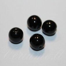 STK0302 apie 8 mm, apvali forma,  juoda spalva, stiklinis karoliukas, apie 30 vnt.