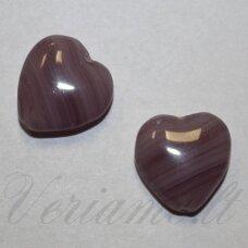 STK2142 apie 16 x 15 x 6 mm, širdutės forma, violetinė spalva, stiklinis karoliukas, 10 vnt.