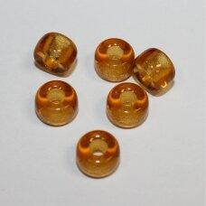 stk2220 apie 6 x 9 mm, žiedelio forma, skaidrus, gintaro spalva, stiklinis karoliukas, apie 30 vnt.