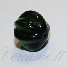 stk2153 apie 10 x 9 mm, briaunuotas, skaidrus, tamsi, žalia spalva, stiklinis karoliukas, 17 vnt.