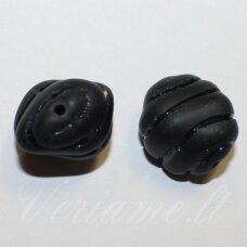 STK2170 apie 20 x 16 mm, juoda spalva, stikliniai karoliukai, 2 vnt.