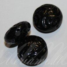 STK2183 apie 14 x 7 mm, disko forma, juoda spalva, stikliniai karoliukai, 11 vnt.