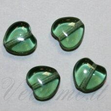 stk2205 apie 7 x 8 x 4 mm, širdutės forma, skaidrus, žalia spalva, stiklinis karoliukas, apie 60 vnt.