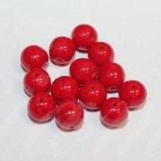 stk2231 apie 8 mm, apvali forma, tamsi, raudona spalva, stiklinis karoliukas, apie 30 vnt.