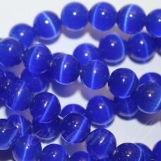 stkat0008-apv-10 about 10 mm, round shape, bright, dark, blue color, glass bead, cat's eye, 1 pc.