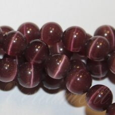 stkat0010-apv-08 about 8 mm, round shape, dark, lilac color, glass bead, cat's eye, 1 pc.