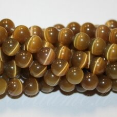 stkat0013-apv-04 about 4 mm, round shape, haki color, glass bead, cat's eye, 1 pc.