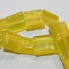 STKAT0015-KVAD-10x10x4 apie 10 x 10 x 4 mm, kvadrato forma, gelsva spalva, stiklinis karoliukas, katės akis, 1 vnt.