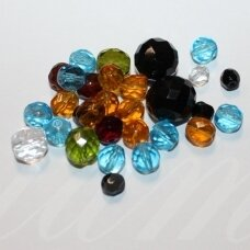 stkb-mix05-12 about 5 - 12 mm, round shape, faceted, czech glass, about 100 g.
