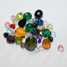 stkb-mix03-13 about 3 - 13 mm, round shape, faceted, czech glass, about 100 g.
