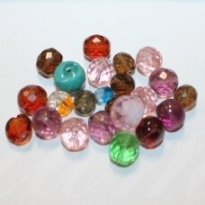 stkb-mix06-12 about 6 - 12 mm, round shape, faceted, czech glass, about 100 g.
