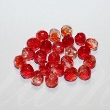 stkb90080/00030-08 apie 8 mm, apvali forma, briaunuotas, raudona spalva, stiklinis karoliukas, 32 vnt.